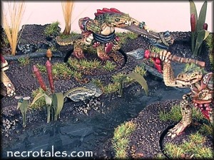 A swamp base with Citadel Troglodytes.